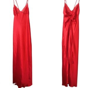 Shirley Hollywood Red Satin Nightdress Lingerie S